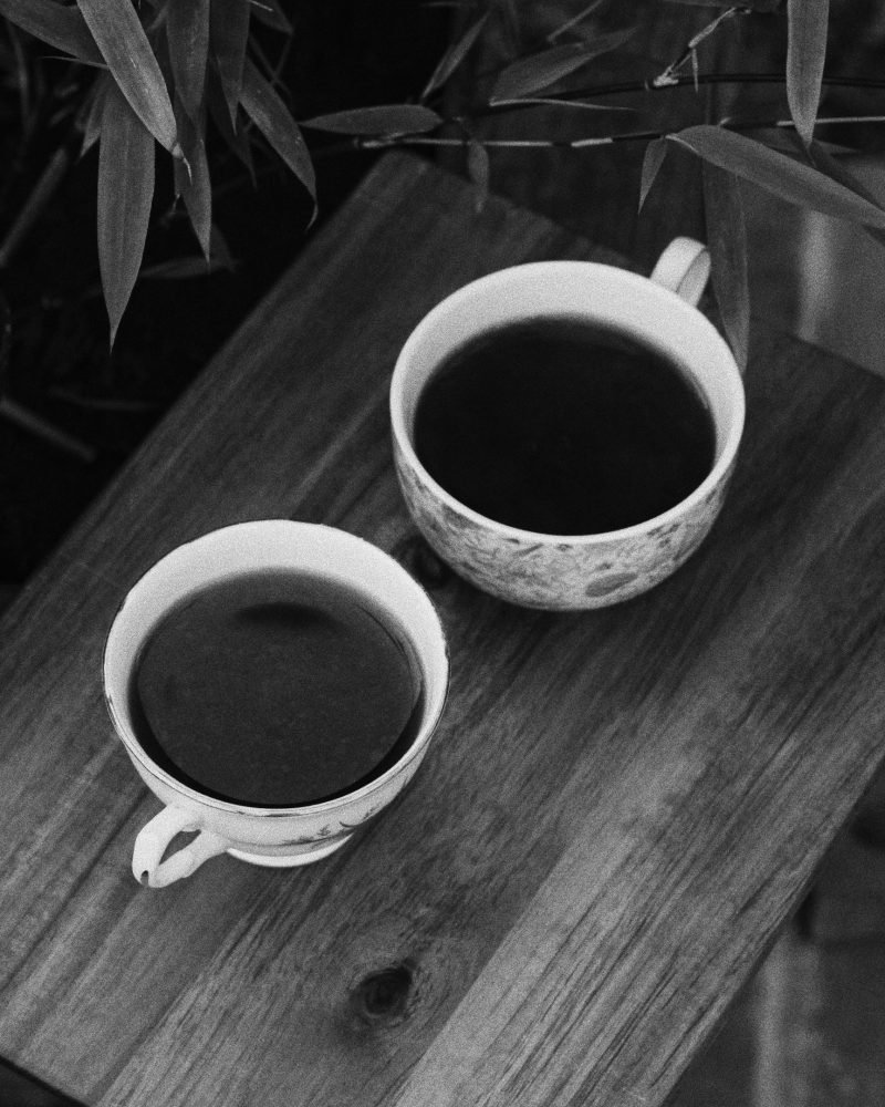 black and white photo of two coffee cups outside - blog on old friends