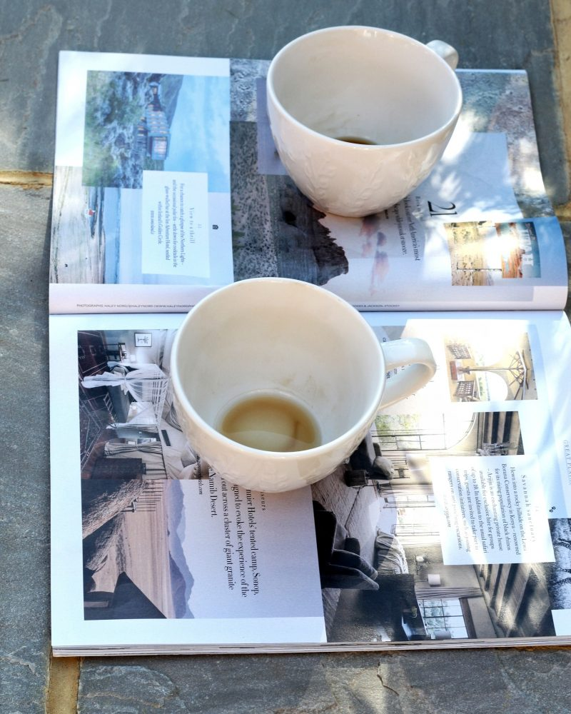 empty coffee cups and a magazine for blog post on feeling better about yourself