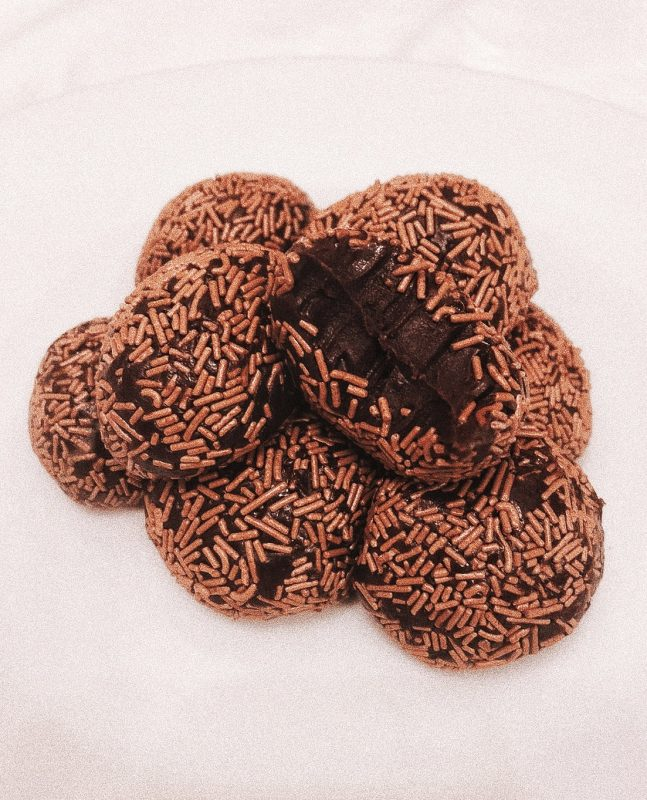 Image of chocolate truffles on plate for blog on feeling emotionally stable after a break up