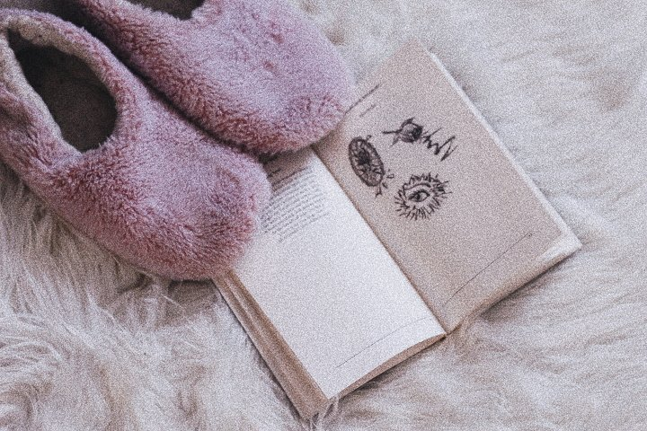 Open book with pink slippers - making a relationship with mental illness work - The Style of Laura Jane